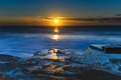 Sun Bursting over the Sea (Merrillie) Tags: daybreak theskillion nature water terrigal nsw rocky sea clouds newsouthwales rocks earlymorning morning landscape centralcoast ocean australia sunrise waterscape coastal outdoors sky seascape dawn coast cloudy waves
