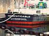 Albert Dock Resident, Liverpool, England (teresue) Tags: 2017 england uk unitedkingdom greatbritain liverpool merseyside boat indefatigableliverpool albertdock reflection