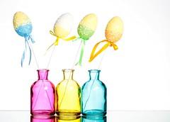 Pastels (Karen_Chappell) Tags: pastel pink blue yellow white easter holiday stilllife eastereggs happyeaster glass product eggs bottle bottles vases vase three four 4 3