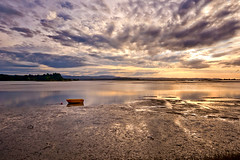 The wonders of a sunset (LilaCheck ) Tags: sky cloudy clouds dramaticsky poetic lonely boat yellowboat zen tranquility newzealand coast coastal beach opotiki pacificocean pacific