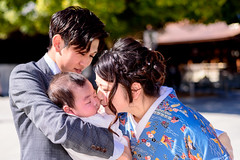 Young Family in Meiji Shrine (Dakiny) Tags: 2018 spring march japan tokyo shibuyaward harajū yoyogi shrine meijijingu city street people portrait woman girl family baby kimono bokeh nikon d750 nikonclubit