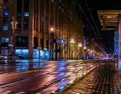 at the corner or rain and more rain (pbo31) Tags: sanfrancisco california city urban spring 2018 nikon d810 boury pbo31 marketstreet infinity roadway civiccenter rain wet storm night dark black muni refection empty lightstream motion corner walgreens