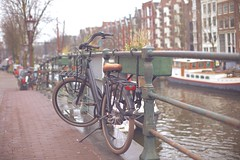 Beaut (sonia.sanre) Tags: fence street lifestyle black amsterdam canal bicycle bici bike