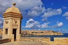 Senglea Point (Douguerreotype) Tags: sky stone blue malta water buildings cityscape military castle architecture city valletta tower fort historic