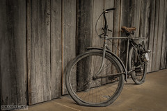 die Luft ist raus (Emanuel D. Photography) Tags: bicycle oldfashioned old wheel transportation cycle woodmaterial street outdoors rusty obsolete cycling backgrounds antique