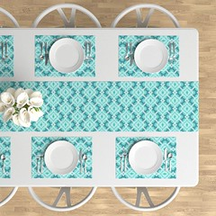 Icy Padded Teal Diamonds (justmeewowydesign) Tags: justmeewowydesign tablerunners tiedyepatterns tiedyetablerunners tiedyeplacemats placemats homefurnishings roostery sproutpatterns spoonflower spoonflowerfabrics tiedye coolcolors lightblue teal tealdiamonds bluediamonds paddeddiamonds paddedteal icypaddedtealdiamonds white padded diamondpattern pastelcolors pasteldiamonds
