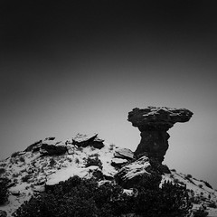 Snowing On Camel Rock No. 1 (Mabry Campbell) Tags: h5d50c hasselblad newmexico santafe usa unitedstatesofamerica blackandwhite camelrock cold fineart fineartphotography image landscape photo photograph photography snow snowing squarecrop winter f35 mabrycampbell december 2016 december222016 20161222campbellb0000963 80mm ¹⁄₈₀₀sec 100 hc80