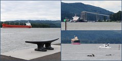 Kalama Waterfront (Linda, enjoying fall) Tags: bench boat cleat columbiariver compositionallychallenged freighter kalama port ship triptych water washington