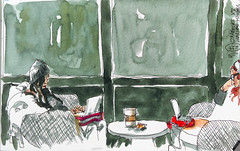 Starbucks (velt.mathieu) Tags: coffee sketch croquis watercolor interior