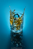 Splash cube (Yves Kéroack) Tags: crystal fondbleu glass bluebackground liquide icecube highspeedphotography motion liquid hautevitesse mouvement splash cubedeglace whisky alcool verre