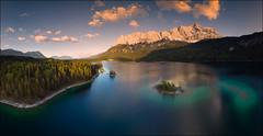 Eibsee (jeanny mueller) Tags: deutschland germany bayern bavaria eibsee grainau zugspitze lake sunset mountain aerial dji drohne landscape mavicair drone