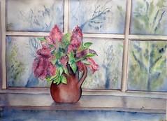 Lilas frente a la ventana (benilder) Tags: acuarela aquarelle watercolor watercolour lilas lilacs flower ventana window fenêtre nousarfabriano benilde