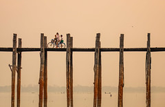 U Bein Bridge at sunrise in Mandalay, Myanmar (phuong.sg@gmail.com) Tags: abstract amarapura ancient architecture asia attraction beautiful bein bridge burma dusk evening fishing footbridge lake landmark light longest made man mandalay myanmar nature people reflect reflection river rural scene silhouette sky structure sunrise sunset sunshine tourist travel u ubain ubein view walking water wood wooden