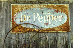 Rustic Dr Pepper Sign, Old Wheel_MG_0164 (918monty) Tags: drpepper drpeppersigns wood patina rusty oldandrusty crusty drinksigns weatherwood annatexas americana