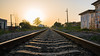 Rail Road (C.A.Photogenics) Tags: train track relax reflection twilight yellow eye sun summer sunshine light life vibarance view vintage old orange contrast colour sony color holiday portugal artistic a7rii art angle amateur amazing a7r abandoned sky still street day horizon long lens love exposure experimental clarity country composition movement beautiful blue building natural motion