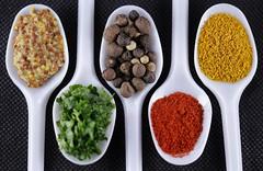 MACRO MONDAYS CONDIMENTS (PA.70) Tags: macromondays condiments moutarde poivre curry paprika persil