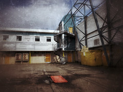 The Beautiful Game (ShinyPhotoScotland) Tags: sky exterior staircase light colour hdr mobile snapseed edinburgh stadium football building architecture