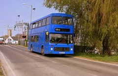 Afternoon Shift at Ely (Chris Baines) Tags: ex stagecoach volvo olympian northern counties palatine r157 hhk service hb16 ely railway crossing cathedral background