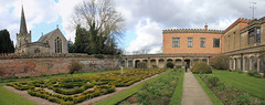 The Courtyard of Holme Pierrepont Hall (jpotto) Tags: uk nottinghamshire holmepierreponthall historichousesassociation eastmidlands house hall mansion building architecture garden courtyard panoramic