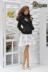 Black peacoats with hand embroidery look great on dolls! (elenpriv) Tags: black peacoats hand embroidery decisive itbe fashionroyalty jason wu integrity toys doll 16inch fr16 handmade clothes elenpriv elena peredreeva spring melody collection