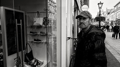 Huh? Paprika? (Alfred Grupstra) Tags: store people fashion men retail shopping blackandwhite urbanscene clothing street city shoe lifestyles citylife outdoors consumerism europe adult paprika shoestore 669