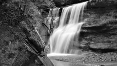 Hidden Falls B&W (jwroach) Tags: bw black white hidden falls waterfall waterfalls water stones rocks must see hocking hills state park ohio cedar near nature surprise contrast