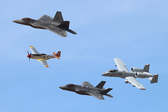 NL351MX (Ian.Older) Tags: usaf heritage flight luke afb f22 f35 a10 p51 raptor mustang thunderbolt lightning formation airshow topside air force aviation aircraft