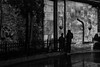 Conversation between a silhoutte and a shadow (Özgür Gürgey) Tags: 2018 35mm bw d750 darkcity galata nikon samyang evening grainy lines lowlight people rain shadow silhouettes street istanbul