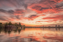 Sunset in Herastrau Park (Hattifnattar) Tags: bucharest herastrau pentax park lake sunset dfa2470mm