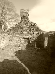 Abandoned croft, Sailean (Salen) , Island of Lismore. (Julie Rutherford1) Tags: sepia croft derelict abandoned deserted village stone dry walls scotland lismore island julie rutherford sailean salen chimney fireplace shadow tree