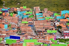 Colours of the city (Jacques Teller) Tags: bogota colombia colombie informal settlement conosur colourplan nikond7200 jacquesteller green colours brick favela marginal poor urban architecture building hill grass landscape periferia peiurban selfconstruction nikon policy municipal facade