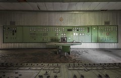 Mission Control (Camera_Shy.) Tags: control room power plant centrale hydroelectric powerstation urban exploration industrial panel old disused green centre abandoned derelict building ue italia road trip urbex abandonment decay industry abandonado tresspassing nikon d810 desk dials switches decayed dereliction