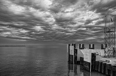 Beginning of a journey (stevebfotos) Tags: skies weather lewes delaware unitedstates us capemaylewesferry bay blackwhite blanco y negro monochrome water atlanticocean ferry transportation storm clouds