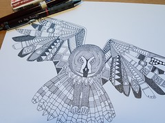 night owl WIP (Scrummy Things) Tags: sharonturner scrummy illustration design art wip workinprogress drawing ink paper progress owl bird feathers blackandwhite spoonflower contest nightowls