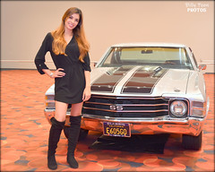 1971 Chevrolet Chevelle SS - 2017 San Francisco Auto Show (billypoonphotos) Tags: chevrolet super sport muscle car 1971 chevelle mid size ss female woman model san francisco auto show black dress billypoon billypoonphotos nikon moscone center photo picture photographer photography bay area lady pretty sports race vehicle tire rim 2017 d5500 18140mm 18140 mm toya