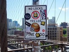 locks and lox (kenjet) Tags: ny nyc newyorkcity newyork brooklyn brooklynbridge bridge city sign nolocks locks lox yeslox warning posting letter typography