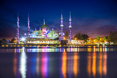 Crystal mosque in Kuala Terengganu, Malaysia (Patrick Foto ;)) Tags: architecture asia asian attraction building city copyspace crystal culture dawn day dome dusk faith famous galaxy god gold islam islamic landmark landscape malaysia masjid mosque muslim night oriental palace peaceful place places pray prayer ramadhan religion religious scenery sky spiritual symbol terengganu tourism twilight worship kualaterengganu my
