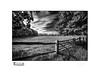 Field and Fence (<Derek>) Tags: field fence monochrome mono bw blackandwhite gate sky clouds