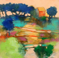 Evening at Home (Kerri Blackman) Tags: landscapepainting smallpainting colorfulartwork house home countryscene scenery