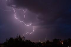Sky Split (alexwinger) Tags: sky lightningstorm lightning purple night nikon nature thunder storm town trees cloudy rain