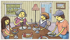 Billy Wiggles Up a Spot (Junkyard Sam) Tags: art drawing illustration kids dinner table fish sausage stew