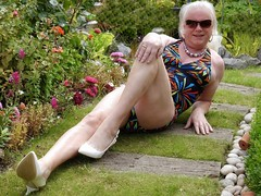 Another Sunny Weekend (Gilly Beale) Tags: swimsuit swimwear outdoors outdoor gilly gill gillian sunglasses sunbathing crossdressing crossdress cd courtshoes crossdresser tgirl tv tranny transvestite trans transgender tg necklace cleavage slingbackshoes slingbacks whiteslingbacks heels garden