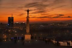 belgrade sunset (poludziber1) Tags: street skyline sky sunset serbia city colorful cityscape color capital clouds beograd belgrade belgrado statue travel urban orange