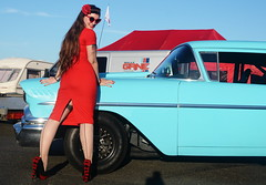 Holly_9212 (Fast an' Bulbous) Tags: classic american car vehicle chevy oldtimer girl woman wife pinup model hot sexy chick babe long brunette hair red wiggle dress high heels stiletto shoes stockings people outdoor nylons chevrolet delray