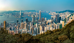 Golden Hour at Victoria Peak. (Matthias Dengler || www.snapshopped.com) Tags: matthias dengler snapshopped golden hour vicotira victoria peak hong kong china landscape cityscape colourful summer sun sunset sunrise blue sky clear architecture city travel explore create