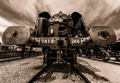 Stop! (tom.leuzi) Tags: 11mm blackstone canoneos6d eisenbahn geleise irix irix11mmf4 lokomotive schiene schweiz switzerland uwa zug line locomotive rail railway sepia symmetric symmetry track train ultrawideangle engine steam sncf141r sncf brugg