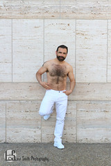 Miguel (Levi Smith Photography) Tags: men man mans mens fashion white jeans pants wall slate gray latino latin hispanic shoes hairy hair beard dark tan guy dude handsome hot cute