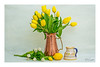 Spring Tulips (Bob C Images) Tags: stilllife yellow tulips flowers arrangement pitcher cooper lemon textures stems sony a7rii