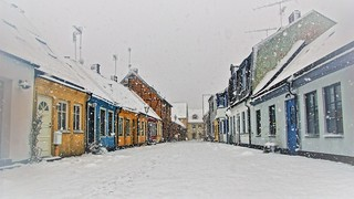 Snowfall in Ystad @ First of April - Sweden