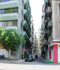 "Narrow, Sunless, 7-story Street Walls - Athens (UrbanGrammar) Tags: urban ""new urban"" urbanism streets traffic ""pedestrian realm"" ""fused grid"" zones"" ""main street"" culdesac loop neighbourhood ""street patterns"" ""healthy urbanism"" mobility accessibility tranquility safety delight infrastructure connectivity ""urban park"" carfree adaptation mixeduse athens"